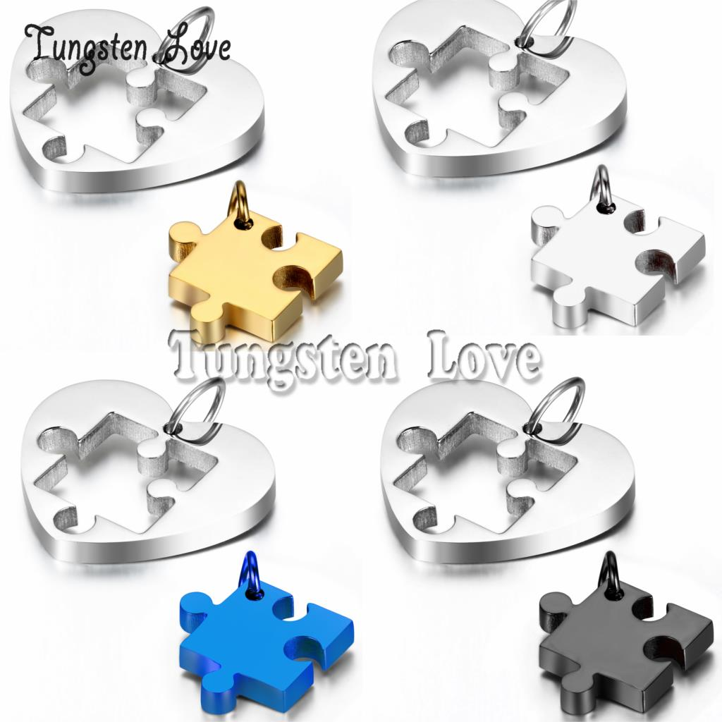 1 pair New Arrivals 2015 Necklaces Heart Puzzle Stainless Steel necklace for women men couples collares 3 colors selection