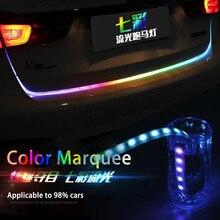 Экстерьера автомобиля декоративная светодиодный магистральные полосы для автомобиля магистральные динамический шоры светодиодный Включите свет задние фонари DRL света RGB красочные течет