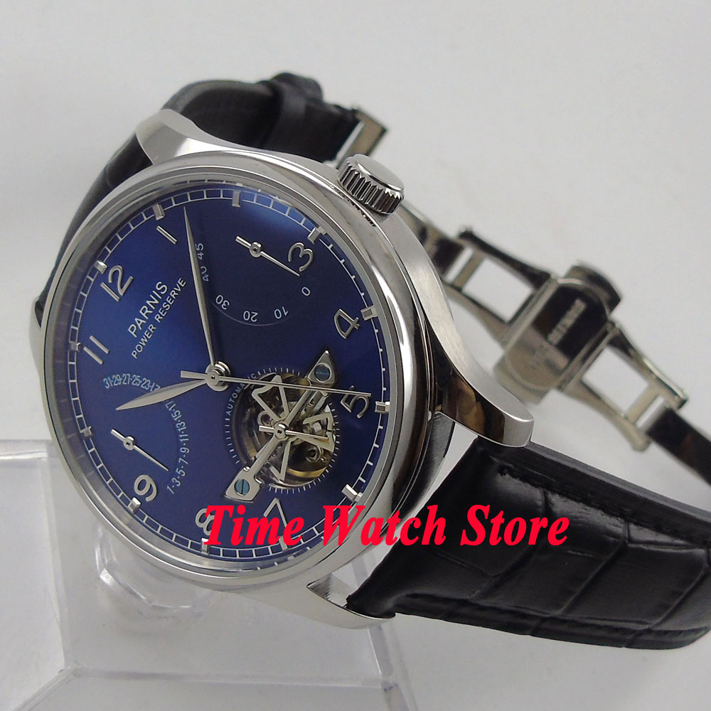 Parnis watch 43mm Blue dial date power reserve deployant clasp movement Automatic Men's watch 547 relogio masculino цена и фото