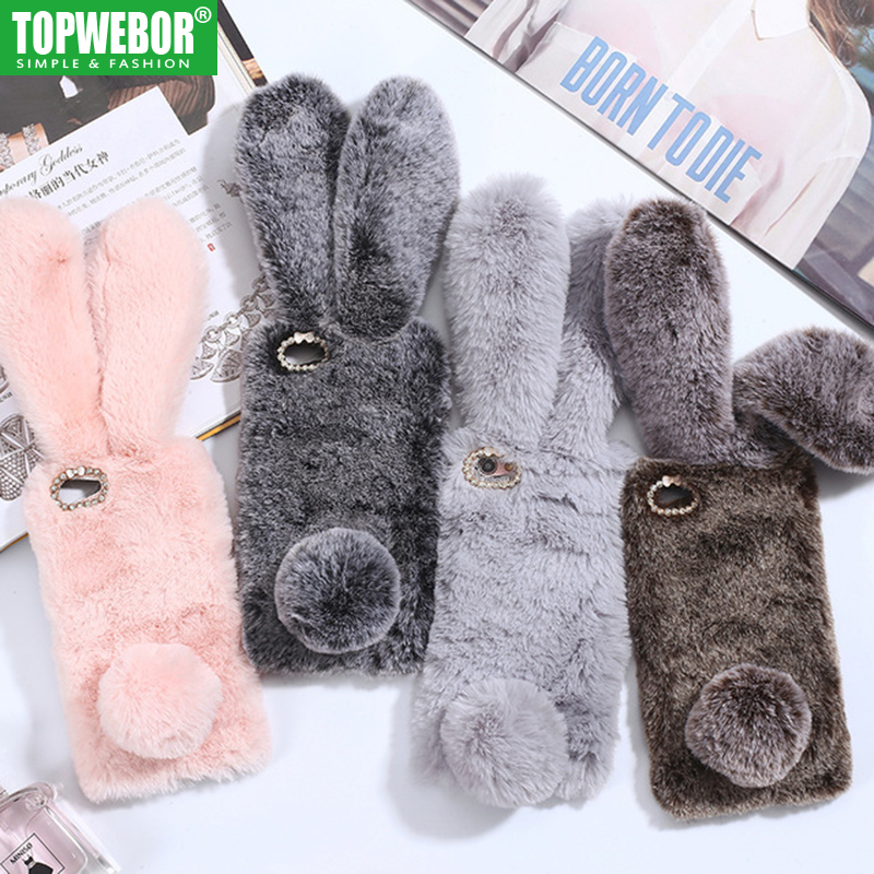 Topwebor Case for iPhone X XR XS Max Case 3D Rabbit Ears Furry fluffy iPhone 7 Warm Case for iPhone 6 6S 7 8 Plus Phone Case