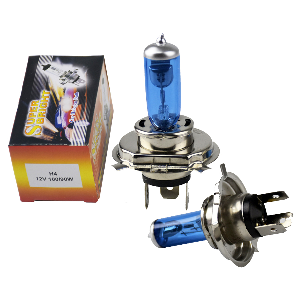2 PCS 12V <font><b>60</b></font>/<font><b>55W</b></font> <font><b>H4</b></font> Halogen <font><b>Lamp</b></font> 5000K Car Halogen Bulb Xenon Dark Blue Glass Super White <font><b>Lamp</b></font> For toyota corolla image