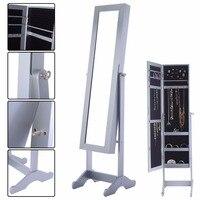 Goplus 145 39 34cm Mirrored Jewelry Armoire Cabinet Powerful Organizer Storage Box With Stand Make Up