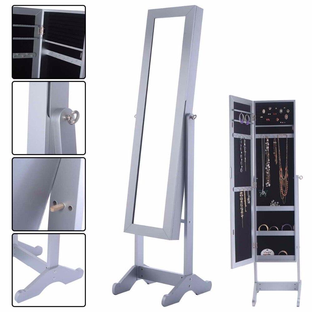 Goplus 145*39*34 cm Miroir Armoire À Bijoux Cabinet Puissant Organisateur Boîte De Rangement avec Stand Maquillage Miroirs armoire HB84526