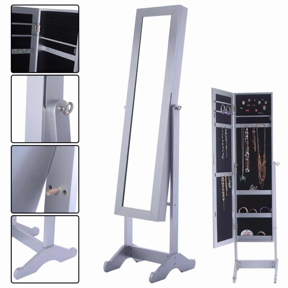 47d063f46 Goplus 145*39*34cm Mirrored Jewelry Armoire Cabinet Powerful Organizer  Storage Box with Stand