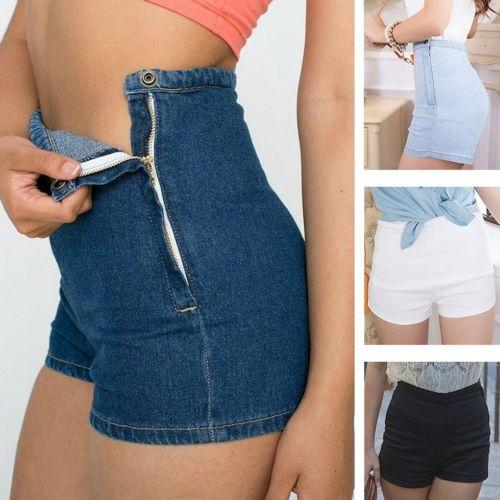Summer Women Slim High Waist Jeans Denim Tap Short Hot ShortsTight A Side Button