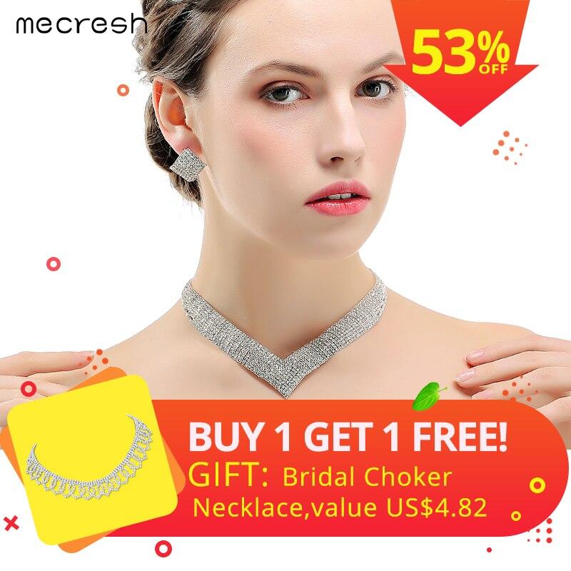 Mecresh de cristal joyería de la boda establece para las mujeres claro collar de perlas africanas conjuntos de joyas de Navidad MTL475