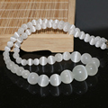 Beautiful white cat eye jasper fashion gems 6-14mm round beads diy trendy necklace making 18 inch MY4146