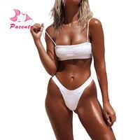 Pacento Bikinis Set White Sexy Bandeau Bikini 2018 Swimsuit Women High Waist Thong G String Bikini Swimwear Bathers Women