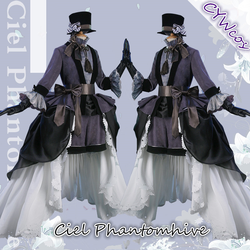 Black Butler Anime Cosplay Ciel Phantomhive Lily Ceremonial Dress Cospaly Costume Women Uniforms Costumes Hat+Dresses+Gloves