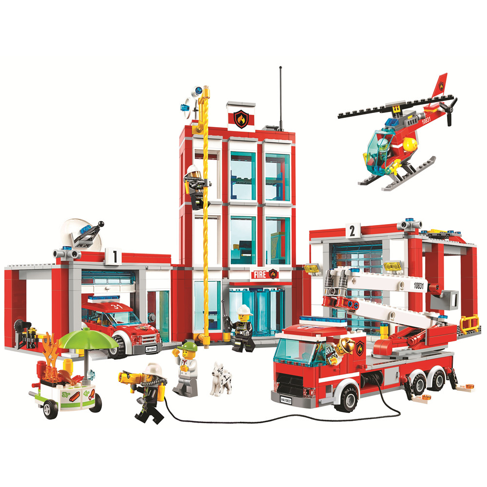 Bela 10831 City Series Fire Station Helicopter Loaded Model Building Block 958pcs Bricks Toys Compatible With Legoings 60110 bela 10992 city arctic exploration team model building block bricks toys compatible with legoings city 60191