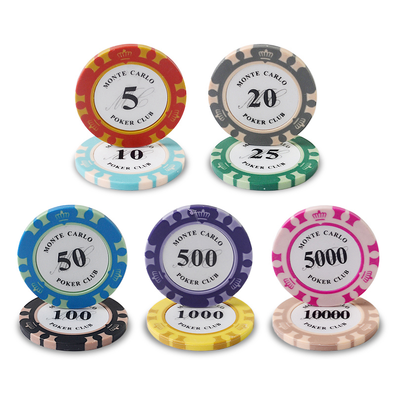 50PCS/Lot Monte Carlo Design Casino Coins Texas Holdem Clay Poker Chips Baccarat Upscale Set Crown 14g Poker Chips