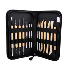 Quality 14Pcs Wooden Metal Pottery Clay Tools With Case Molding Sculpture Sculpting Clay Tool Kit(China)