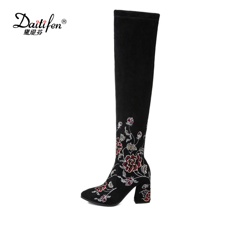 Daitifen Embroidery flower Over the knee boots women Autumn Winter Fashion high heel long boots Embroidered shoes size 34-43 plus size 34 43 autumn winter genuine leather women flower shoes lady high heel long boots embroidered over knee high snow boots