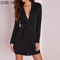 AZURE SHEN Spring Slim Pencil Female Dress 2018 Sexy Casual Pullover Long Sleeve Sash Lace