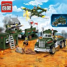 Enlighten Military Educational Building Blocks Toys For Children Gifts Army Truck Aircraft Dog Base Gun World War Hero Weapon