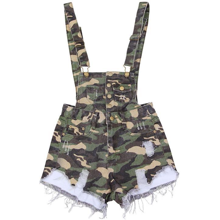 Women   Shorts   Camouflage Denim Overalls Women Tassels Casual   Shorts   Ripped High Waist Mini   Short