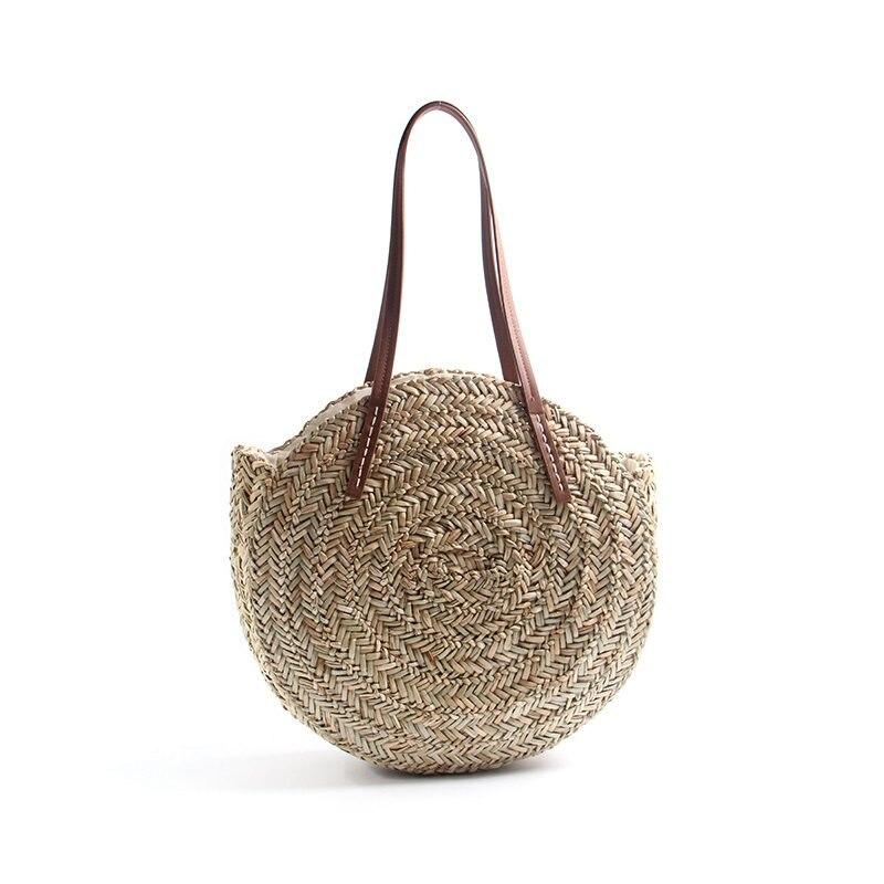 saco feminino mão tecido praia natural oval
