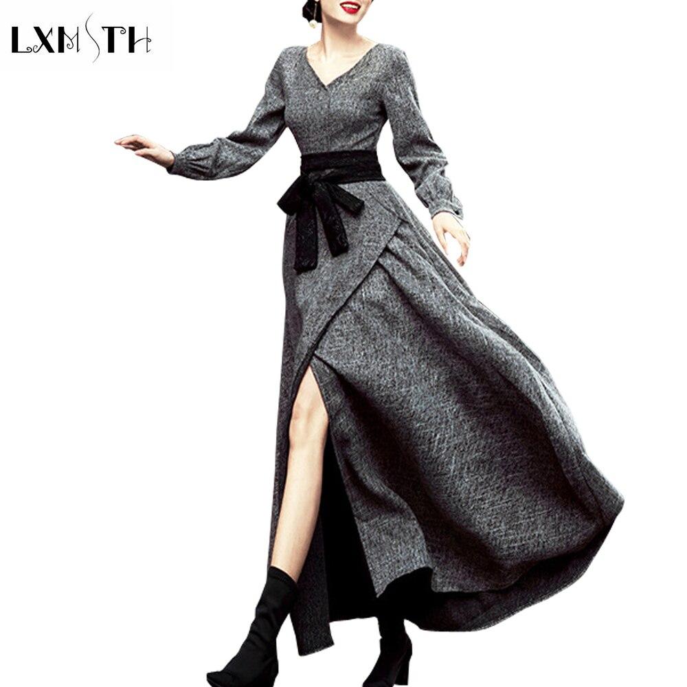 Donne Maxi Vita Modo Collo Lunga Dress Manica Abiti Elegante Antumn Del  Abito Per V Grigio Lino Di Cotone Inverno 2018 Vintage Cintura Alta Della  Y7R4zqwBx c3add53f990