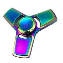 ที่มีสีสันสร้างสรรค์ตลกโลหะEDCมือปั่นTri-s Pinnerแบริ่งอยู่ไม่สุขนิ้วเด็กผู้ใหญ่โฟกัสของเล่น