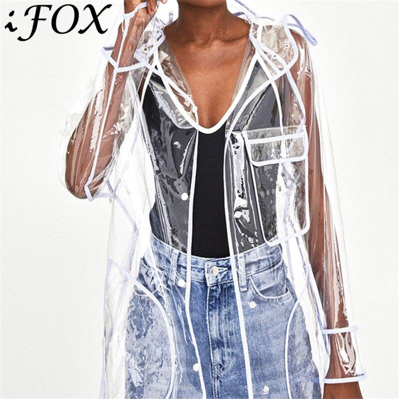Mode longue veste transparente femmes haute rue voir à travers imperméable décontracté à capuche imperméable manteau coupe-vent Outwear