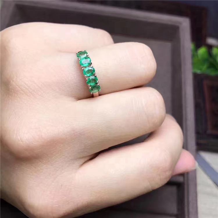 natural emerald ring solid 925 sterling silver emerald ring round natural emerald gemstones ring simple design ring