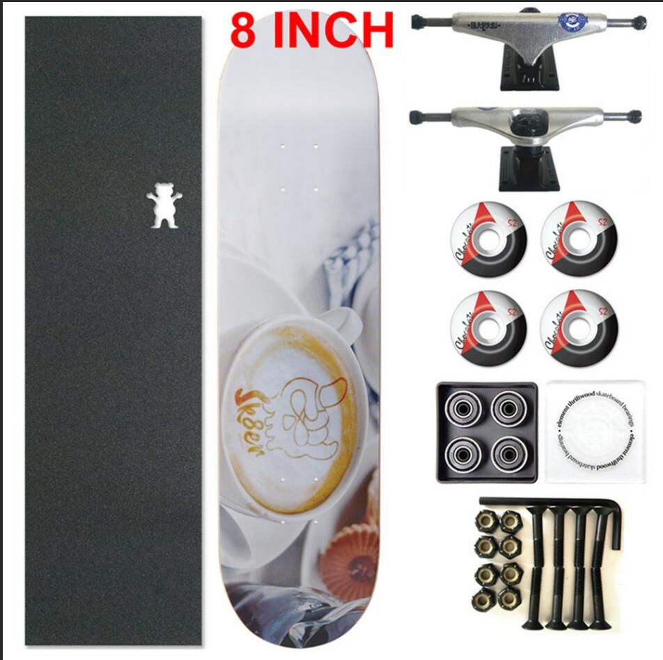 SKATER 1 Set Pro Quality Complete Skateboard Deck 8 Inch Skate Board Wheels & Trucks Double Rocker Skateboard Parts