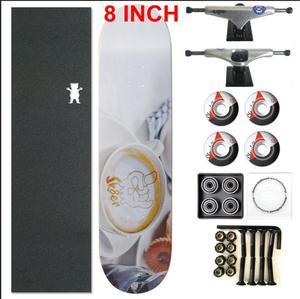 Image 1 - Skater 1 conjunto pro qualidade completa skate deck 8 polegada skate board rodas & caminhões peças de skate balancim duplo
