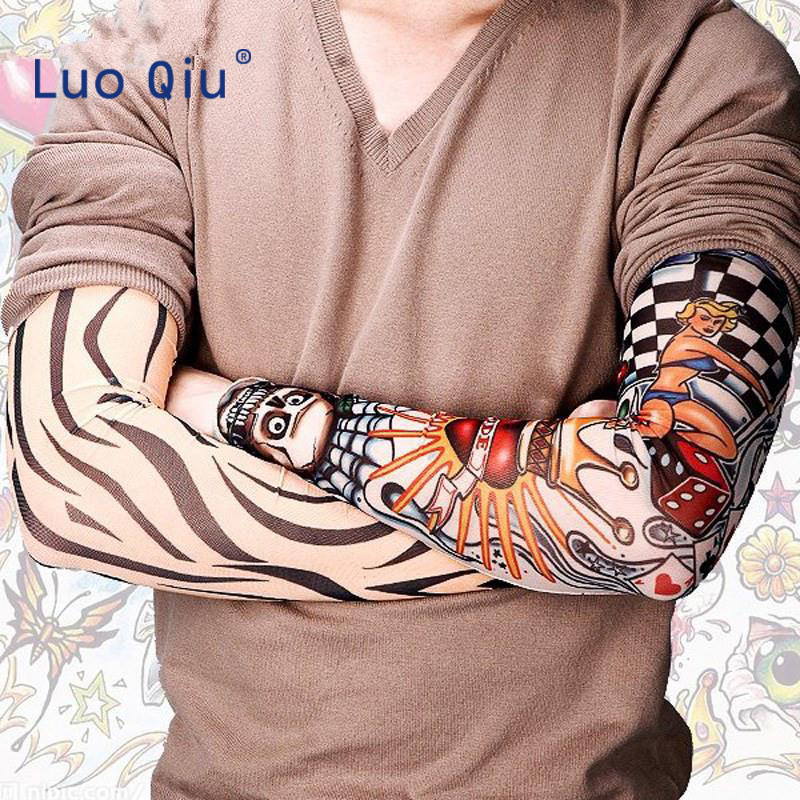 2Pieces/lot Cooler Summer Fake Tattoo Gloves Arm Sleeve Men Women UV Sun Protection Cool Cycling Sleeves Girls Dress Stockings