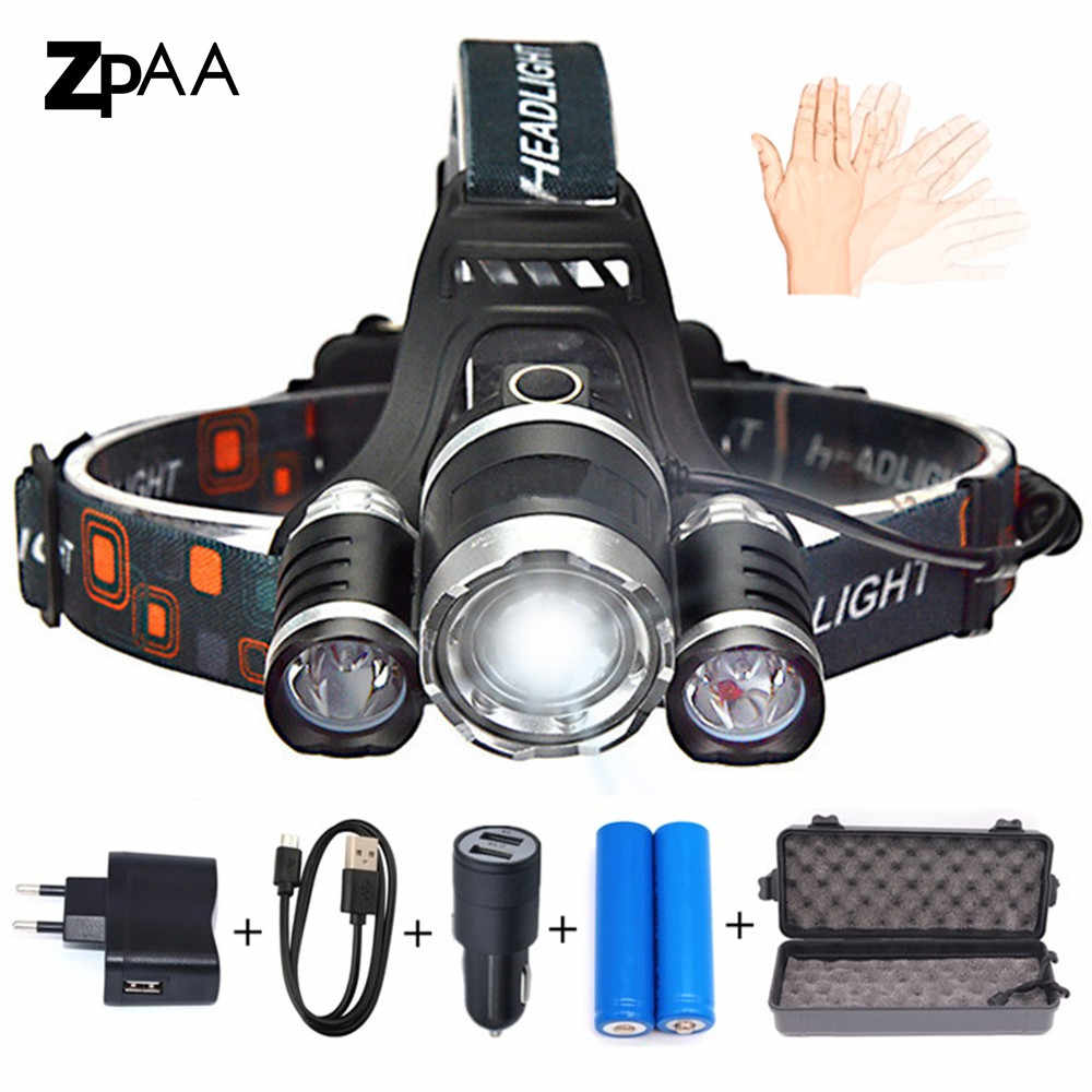 XML T6 LED Headlamp Headlight 15000 lumens  Head Lamp Flashlight Rechargeable Lantern on the Head Emergency Light for Fishing