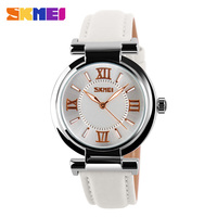 SKMEI 9075 Brand Dress Watch For Women Leather Strap Gold Women Dress Watches Quartz Fashion Waterproof