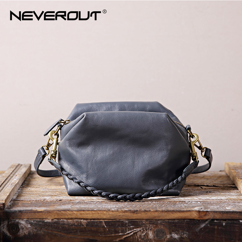NEVEROUT Woman Genuine Leather Bag Classic Retro Style Handbag Small Totes for Women Solid Shoulder Flap Purse Crossbody Bag new 2018 classic patchwork flap crossbody bag for female women canvas