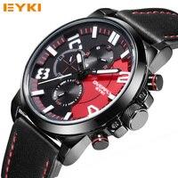 Пролет EYKI Элитный бренд Для мужчин Часы Одежда высшего качества кожа Для мужчин модные Авто Дата кварцевые часы Повседневное световой часы