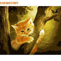 CHENISTORY Frameless Tree Cat DIY Painting By Numbers Kits Animals Paint By Numbers Calligraphy Painting Wall Art Picture 40x50