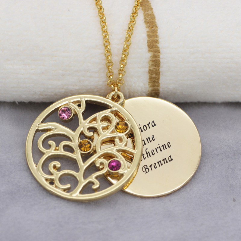 Aliexpress buy filigree family tree pendant necklace with aliexpress buy filigree family tree pendant necklace with birthstones birthstones long necklaces jewelry custom made any name yp2546 from reliable aloadofball Images