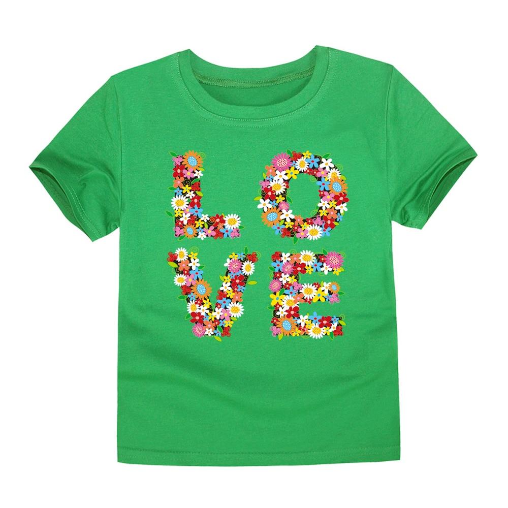 CHUNJIAN 2017 new boys T-shirt baby summer short sleeve tee children 100% cotton flower kids love print for 2-14 years girls