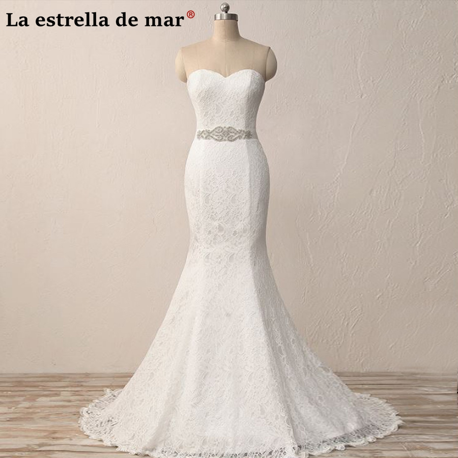 Vestido de noiva 2018 new lace diamond sexy mermaid ivory wedding dress long cheap robe de mariee hot sale gelinlik real photo