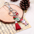Cheap red cute keychain for christmas jewelry llavero porte clef Santa Claus key chain portachiavi christmas tree car keychain