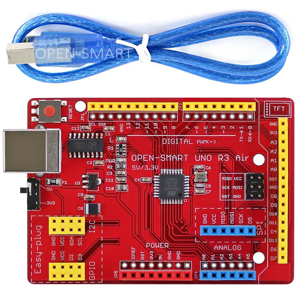 Макетная плата UNO R3 Air ATMEGA328P (CH340) с usb-кабелем для Arduino UNO R3, легко подключаемый модуль TFT LCD /DS1307 RTC /TF card