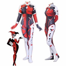 2018 Offre Spéciale Halloween Costumes OW DVA Harley Quinn Cosplay zentai  Collants Cosplay Ensemble 3D impression salopette 29eca9e9729