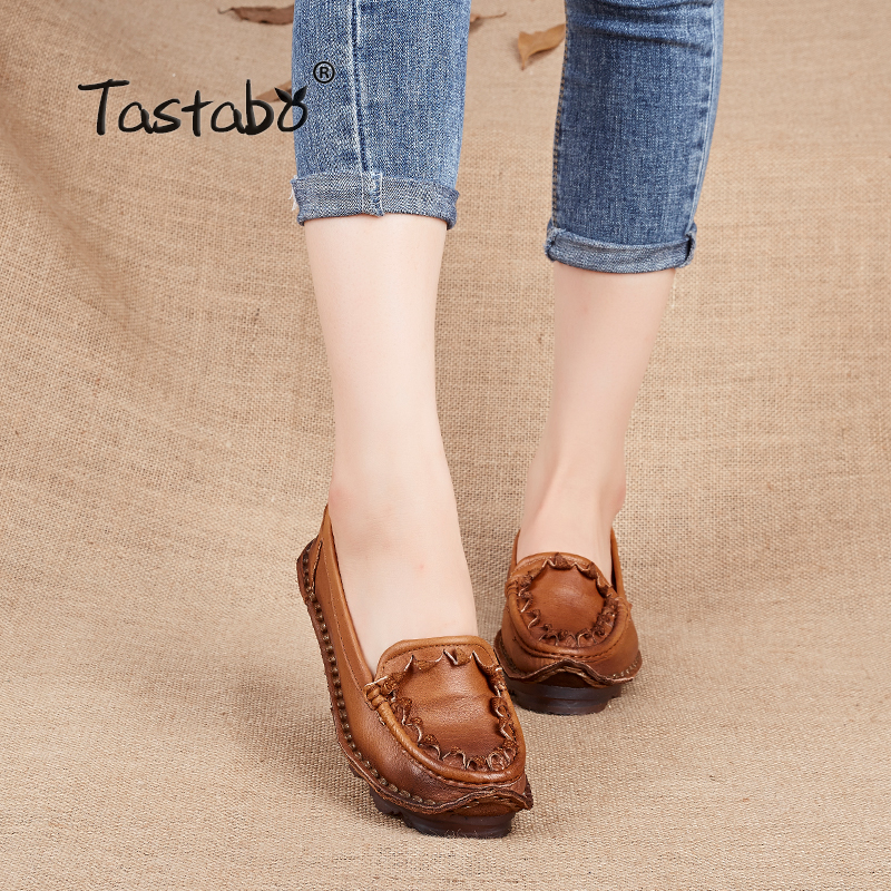 Tastabo Woman Flats Handmade 100% Full Grain Leather Autumn Flats Memandu Kasut Soft Casual Casual Shoes Women Plus Size