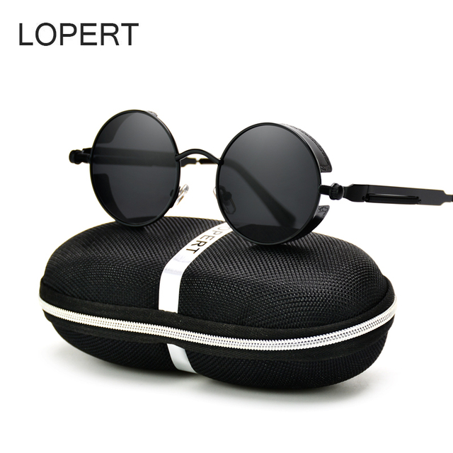 c0aab7740b LOPERT Vintage HD Polarized Steampunk Sunglasses Men Brand Designer Glasses  Women Gothic Coating Mirrored Sun Glasses