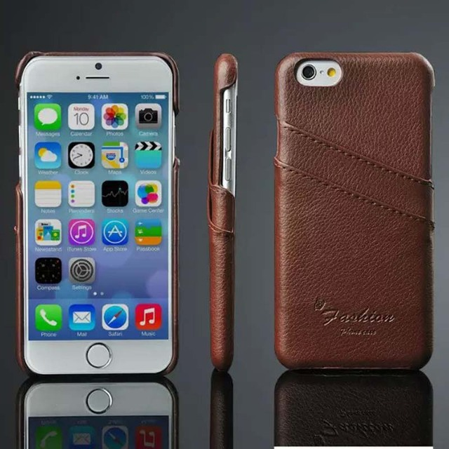super popular f8475 ad4b1 US $9.99 |For apple iphone 6s phone case litchi genuine leather back cover  capa para for iphones6s case for iphone with card slot carcasas-in ...