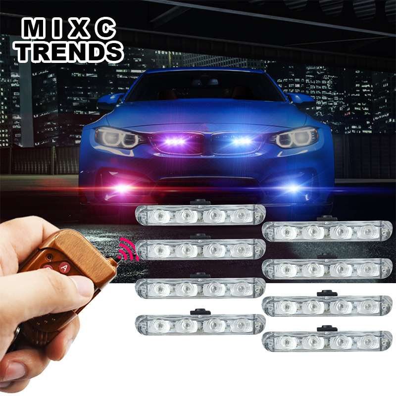 Wireless Remote 8x4 Led Ambulance Police light DC 12V Strobe Warning light for Car Truck Emergency Light Flashing F MIXC TRENDS higher star 140cm 104w led emergency lightbar truck warning light bar strobe light for police ambulance fire vehicles waterproof