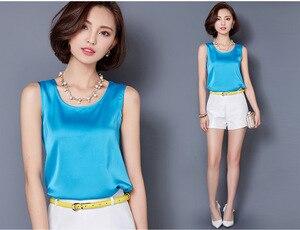 Image 5 - Camiseta sin mangas de verano de talla grande para mujer de color puro de satén de alta elasticidad simulación de seda sling chaleco superior mujeres Y163