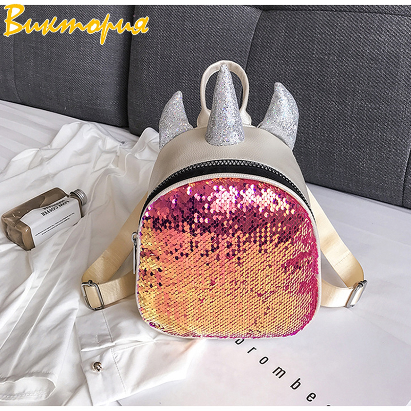 CHARA`S Shoulder Bag Travel Anti Theft  Backpack Female Off White 2019 New Sequin Korean Version Women