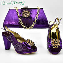 Paarse Kleur Italiaanse Schoen met Bijpassende Tassen Hoge Kwaliteit Afrikaanse Schoen en Tas Set voor Party In Vrouwen Nigeriaanse Schoenen ZS 04