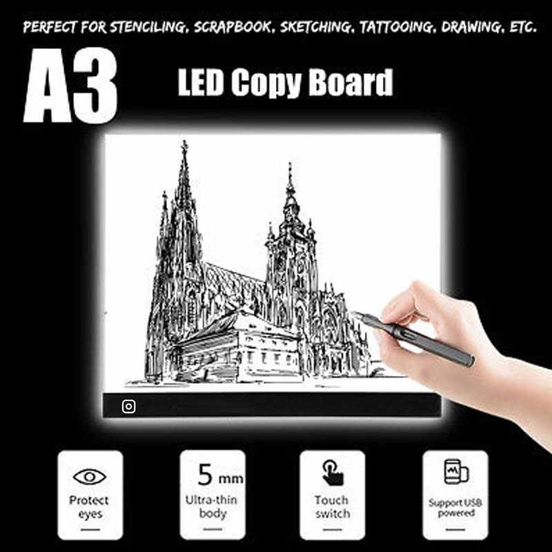 A3 Mini LED Light Drawing Tracing Tracer Copy Board Three-level Dimming Digital Tablet Eye-protecting Drawing Pad