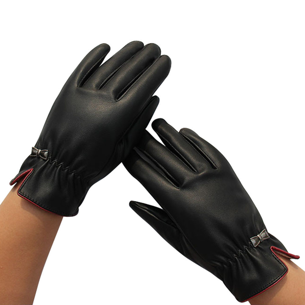 Womens leather gloves with touch screen fingers - 1pair Womens Screen Leather Gloves Thick Warm Gloves Winter Warm Gloves Black Women Out Door Fashion