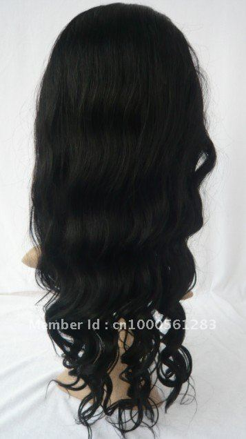 Real huam hair full lace wigs body wave  18inch 1 color side