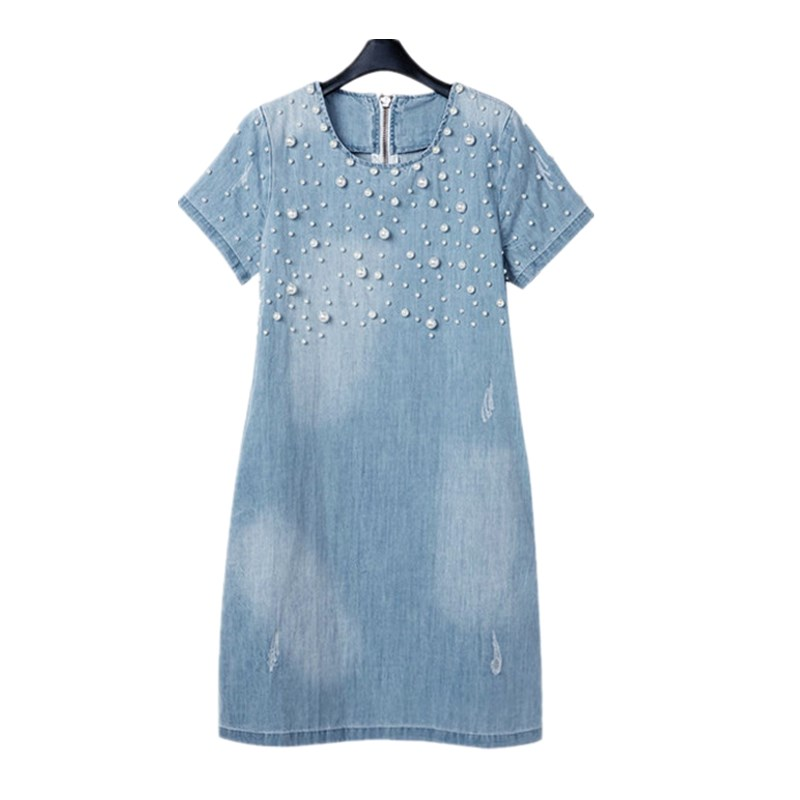 2017 Women Denim Dress New Summer Dresses 5XL Casual Women Dresses Jeans O Neck Beading Vestidos Beach large Size Dress женское платье dress new brand 2015 o dresses women